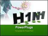PowerPoint Template - new h1n1 influenza virus in white back ground
