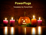 PowerPoint Template - Ceramic pumpkin candles lights. A little setup for Halloween