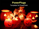PowerPoint Template - Halloween candle-light with leaves on black background