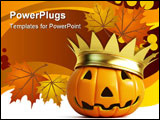 PowerPoint Template - halloween pumpkin crown isolated on a white background