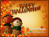 PowerPoint Template - mage and illustration composition Halloween border, Fall background, Autumn template, whimsical sca