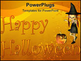 PowerPoint Template - appy Halloween card or background illustration with text, little witch, pumpkin lantern and autumn