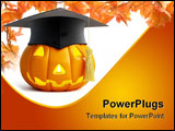 PowerPoint Template - pumpkin halloween graduation cap on a white background