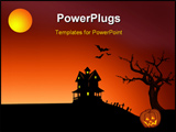 PowerPoint Template - halloween illustrations with haunted house bats graveyard and pumpkin