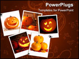 PowerPoint Template - Halloween jack o lantern pumpkin images on a dark wood background