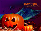 PowerPoint Template - Carved pumpkins with various Halloween items.
