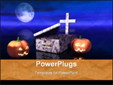 PowerPoint Template - pumpkins and empty grave during the halloween