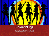PowerPoint Template - Six sexy witches dancing in the moonlight on blue background with scroll border
