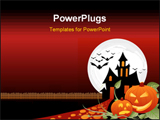 PowerPoint Template - two pumkin in Halloween dark night with one afraid from the other