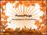 PowerPoint Template - pumpkins on white background with fall leaves frame