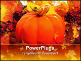 PowerPoint Template - colorful autumn leaves and orange pumpkin