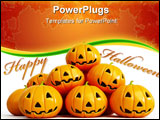 PowerPoint Template - Halloween pumpkins isolated on a white background