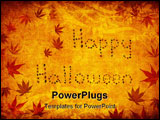 PowerPoint Template - grunge background with happy halloween written by japanese maple leaves
