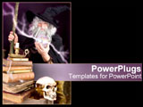 PowerPoint Template - A mysterious wizard stands with his lightening globe.
