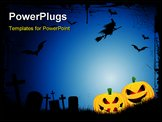 PowerPoint Template - pooky Halloween background with spooky jack o lanterns in a graveyard with a witch flying on a broo