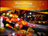 PowerPoint Template - Scatter Halloween candies over Wizard hat, Halloween theme.