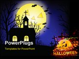 PowerPoint Template - Halloween grunge background with grass bat and hunting house