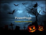 PowerPoint Template - Halloween dark scenery with naked trees full moon and clouds