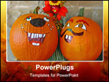 PowerPoint Template - Happy Halloween Pumpkins against a brick wall
