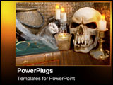 PowerPoint Template - Creepy set-up of Halloween props.