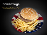 PowerPoint Template - Hamburger on paper plate america style popular Fastfood