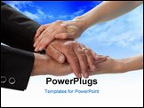 PowerPoint Template - Close-up studio photo of two people hands embracing. White background.
