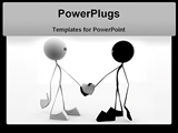 PowerPoint Template - 3d rendered illustration of two little characters handshaking