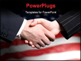 PowerPoint Template - Photo of a hand shake and a American flag in background