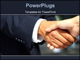 PowerPoint Template - usiness man dressed in suit shaking hands with another person. Concept: Deal done or agreement made
