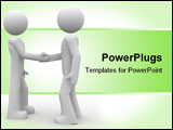 PowerPoint Template - 3d rendered illustration of two little characters shaking hands