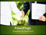 PowerPoint Template - Handshake between businessman and businesswoman in a meeting