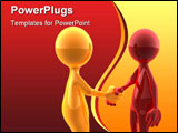 PowerPoint Template - Handshake of two glossy characters (3d rendered image).