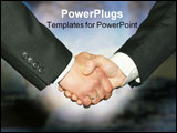 PowerPoint Template - Best business handshake over abstract blue background