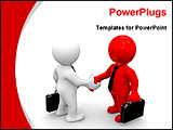 PowerPoint Template - two models shaking hands for business deal