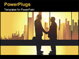 PowerPoint Template - well-known business concept partners on the urban background with golden light
