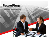 PowerPoint Template - A businesswoman and a businessman shaking hands