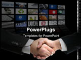 PowerPoint Template - Businessman handshake over perspective screen wallpaper communication