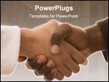 PowerPoint Template - multiracial handshake from an african and a caucasian mens hand