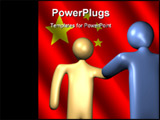 PowerPoint Template - abstract people shaking hands with Chinese flag illustration