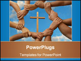 PowerPoint Template - Ring of hands giving a teamwork theme and cross