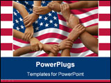 PowerPoint Template - Ring of hands giving a teamwork theme and american flag