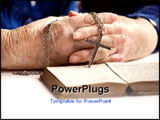 PowerPoint Template - An elderly pair of hands holding a cross