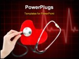 PowerPoint Template - Hand with stethoscope checking a red heart isolated on a white background