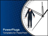 PowerPoint Template - Businessman hangs on an arrow of clock isolated on blue background