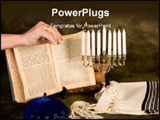 PowerPoint Template - Female hand lighting the candles for hanukkah