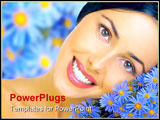 PowerPoint Template - Happy young smiling woman with blue flowers