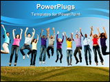 PowerPoint Template - happy smiling diverse group of youth teens teenagers or young people