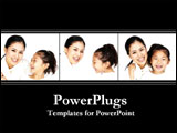 PowerPoint Template - An Asian mother and her daughter laugh and play.