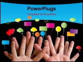 PowerPoint Template - Happy group of finger smileys with speech bubbles 2