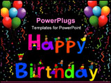 PowerPoint Template - Happy Birthday text message with little kids climbing over the letters.
